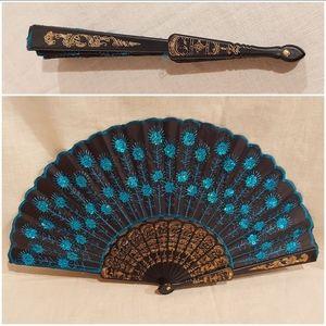 Vintage Blue Sequin Folding Fan